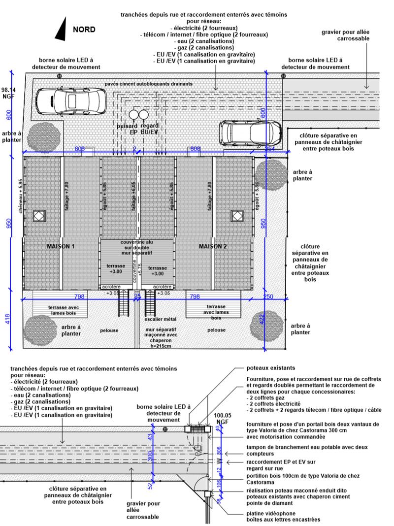 Plan de masse de deux maisons